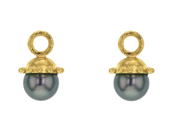 Elizabeth Locke Small Black Tahitian Pearl Drops For Hoops thumbnail