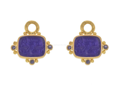 "Elizabeth Locke Cobalt Venetian Glass Intaglio ""Two Cranes"" Earring Charms With Faceted Iolites"