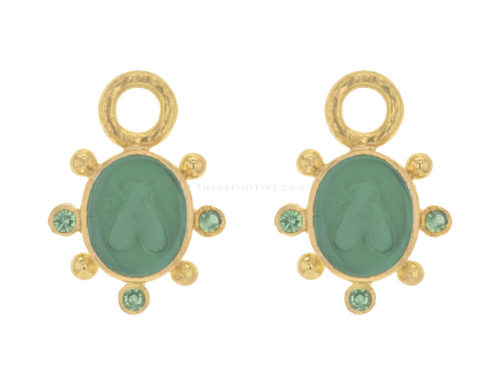 "Elizabeth Locke Pine Venetian Glass Intaglio ""Mosca"" Earring Charms With Faceted Tsavorite"