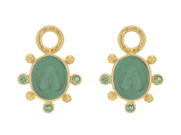 "Elizabeth Locke Pine Venetian Glass Intaglio ""Mosca"" Earring Charms With Faceted Tsavorite thumbnail"
