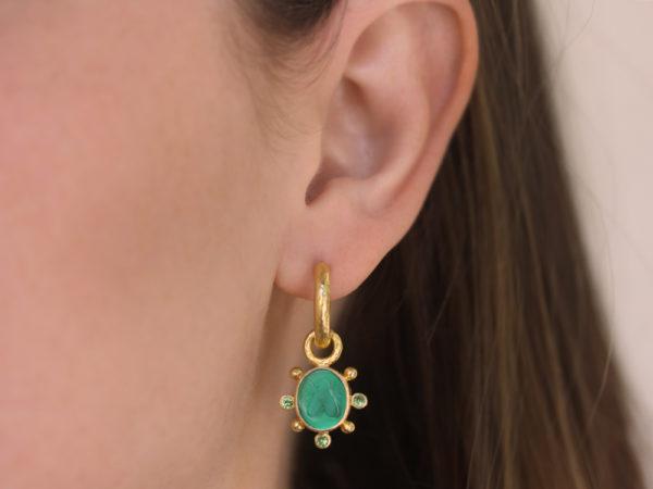 "Elizabeth Locke Pine Venetian Glass Intaglio ""Mosca"" Earring Charms With Faceted Tsavorite"