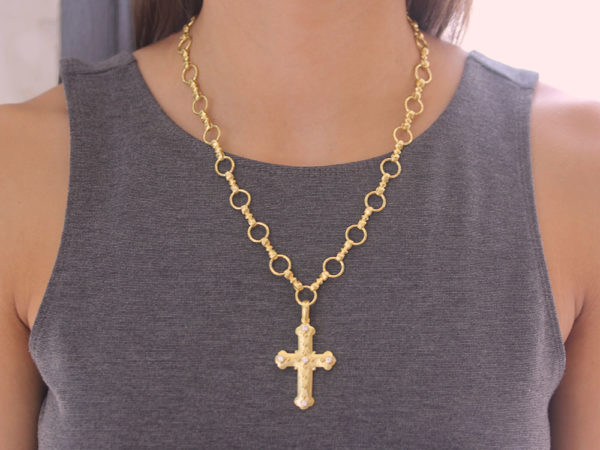 Elizabeth Locke Byzantine Cross With Diamonds model shot #1
