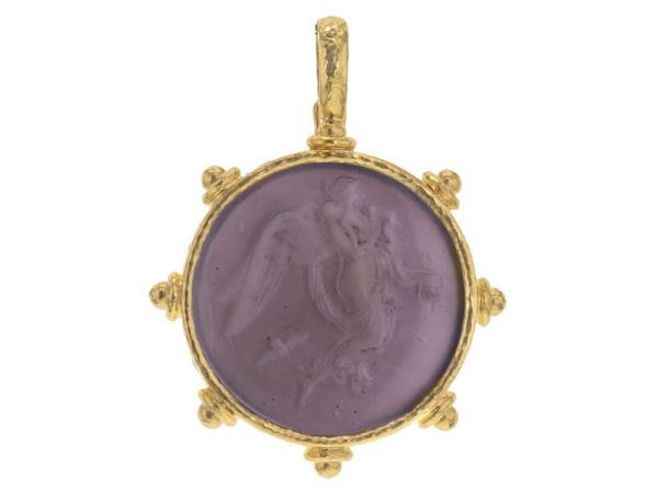 """Elizabeth Locke Mulberry Venetian Glass Intaglio """"Angel With Child"""" Pendant With Gold Topknot Bezel And Hinged Bale thumbnail"""