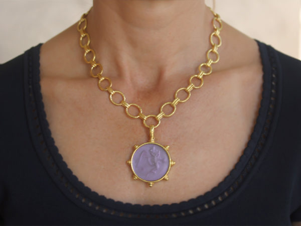 """Elizabeth Locke Mulberry Venetian Glass Intaglio """"Angel With Child"""" Pendant With Gold Topknot Bezel And Hinged Bale"""