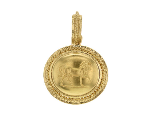 "Elizabeth Locke Horizontal Oval Gold ""Roman Horse"" Pendant With Braided Bezel And Braided Hinged Bale thumbnail"