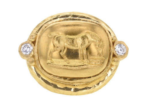 "Elizabeth Locke Gold ""Grazing Horse"" Ring with Diamonds"