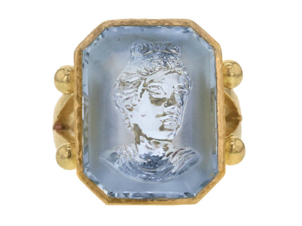 "Elizabeth Locke Octagonal Carved Aquamarine ""Demeter"" Ring With Split Shank And Gold Dots thumbnail"