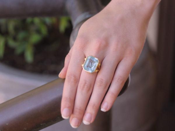 "Elizabeth Locke Octagonal Carved Aquamarine ""Demeter"" Ring With Split Shank And Gold Dots"