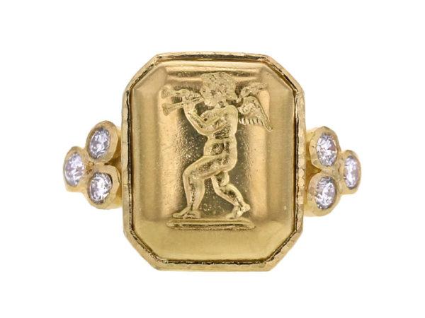"Elizabeth Locke Octagonal Gold ""Cherub with Flute"" Ring with Diamonds Triads thumbnail"