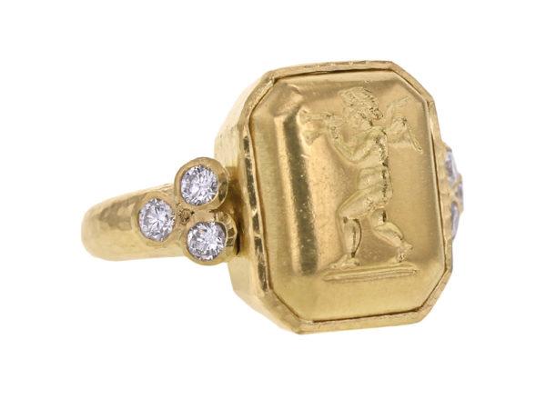 """Elizabeth Locke Octagonal Gold """"Cherub with Flute"""" Ring with Diamonds Triads model shot #2"""