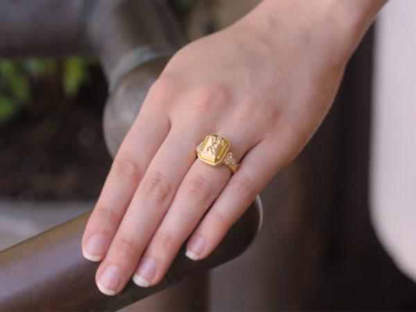 "Elizabeth Locke Octagonal Gold ""Cherub with Flute"" Ring with Diamonds Triads"