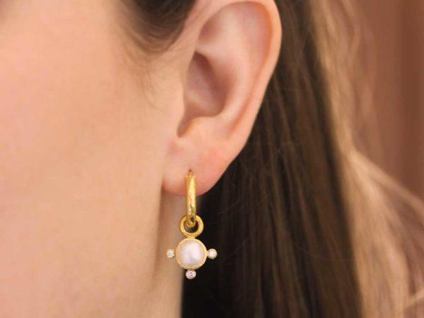 "Elizabeth Locke Akoya ""Mabe"" Pearl & Diamond Earring Charms"