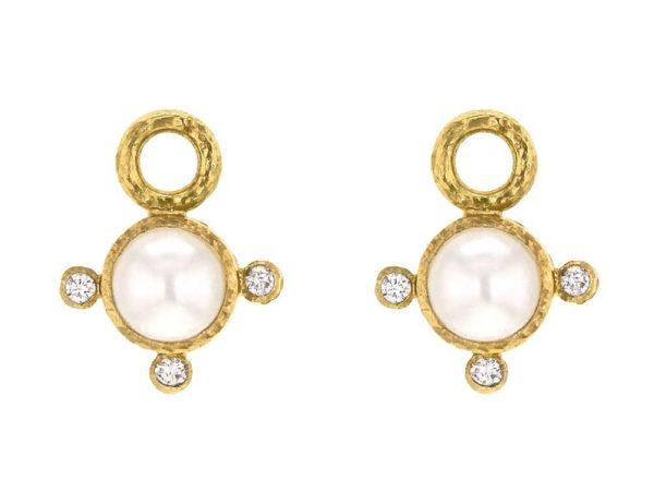 "Elizabeth Locke Akoya ""Mabe"" Pearl & Diamond Earring Charms thumbnail"