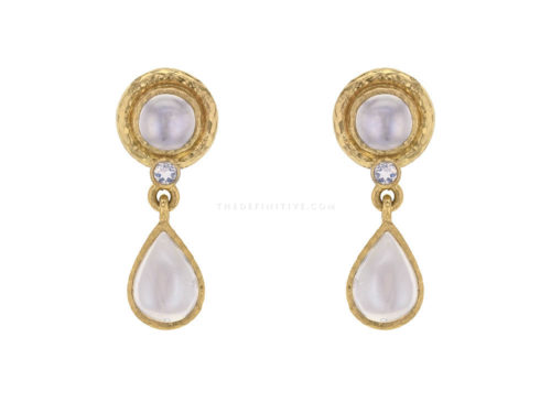 Elizabeth Locke Pear-shaped Moonstone Drop Stud Earrings