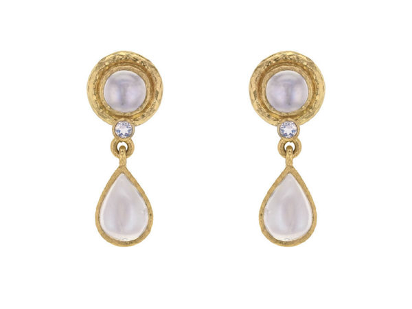 Elizabeth Locke Pear-shaped Moonstone Drop Stud Earrings thumbnail