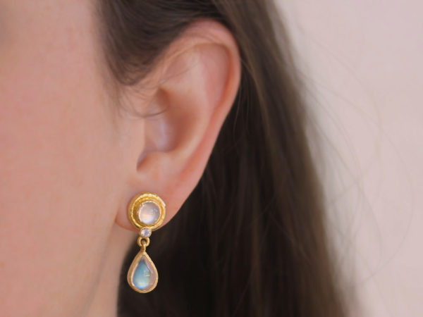 Elizabeth Locke Pear-shaped Moonstone Drop Stud Earrings model shot #1