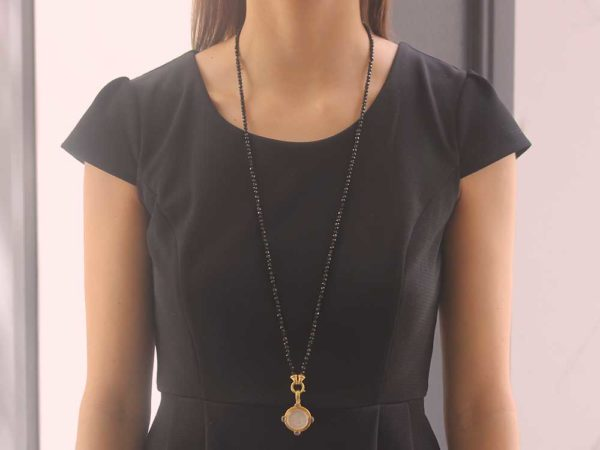 "Elizabeth Locke 35"" ""Francesca"" Clasp Necklace With 4mm Faceted Spinels"