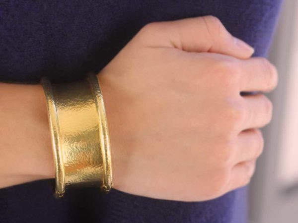 "Elizabeth Locke Hinged ""Amulet"" Bangle Bracelet model shot #1"