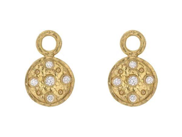 Elizabeth Locke Gold and Diamond Disk Earring Charms thumbnail