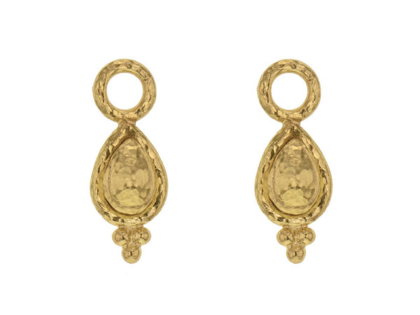 Elizabeth Locke Slightly Domed Gold Teardrop Earring Charms With Gold Triad Bottom thumbnail