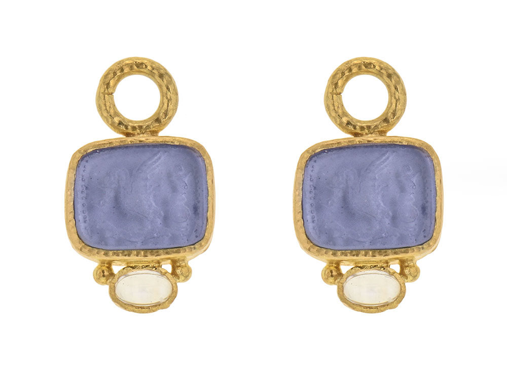 Elizabeth Locke Cerulean Venetian Gl Intaglio Putto And Swan Earring Charms With Moonstone Thumbnail