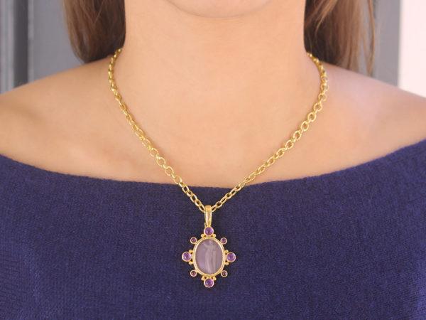 "Elizabeth Locke Mulberry Venetian Glass Intaglio ""Goddess with Column"" Pendant"