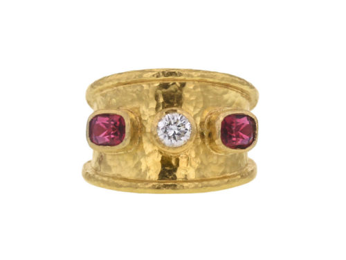 Elizabeth Locke Tapered Cigar Band with Round Center Diamond and Side Cushion Spinels
