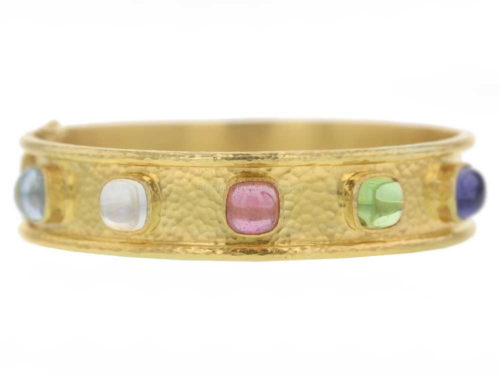 Elizabeth Locke Narrow Flat Bangle With Cushion Cabochon Tutti Frutti Stones