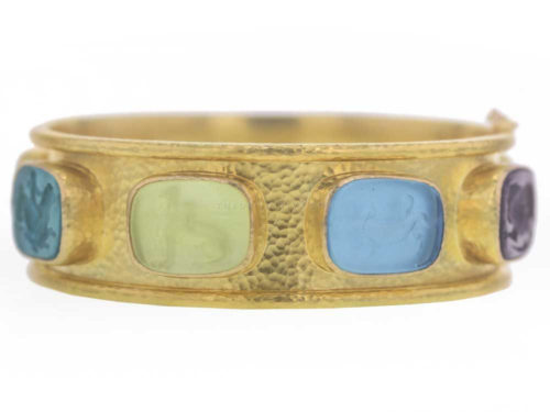 "Elizabeth Locke Venetian Glass Intaglio With ""Antique Animals"" In Flat Narrow Bangle"