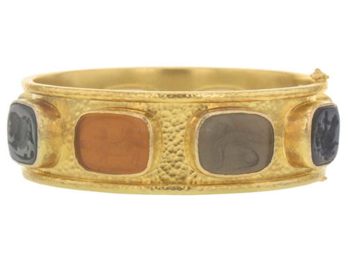 "Elizabeth Locke Venetian Glass Intaglio ""Antique Animals"" & Jasper Flat Narrow Bangle Bracelet"