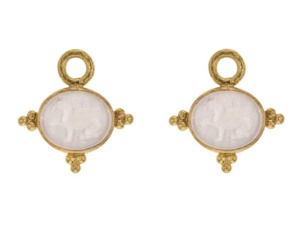 "Elizabeth Locke Crystal Venetian Glass Intaglio ""Grifo"" Earring Charms With Three Gold Triads On Thin Bezel thumbnail"