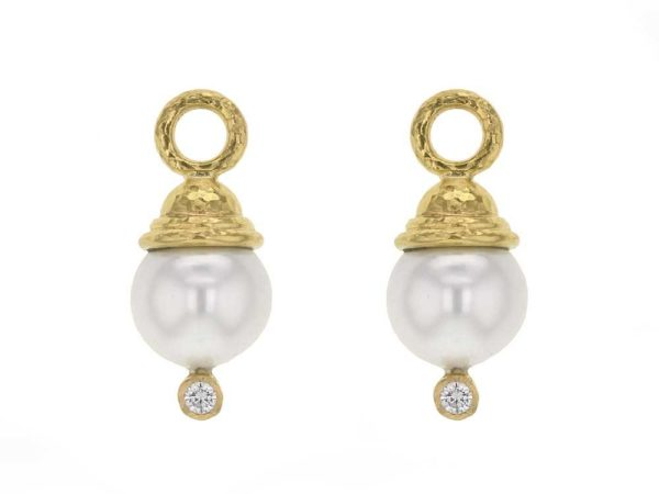 Elizabeth Locke Acorn-Capped Pearl And Diamond Earring Charms thumbnail