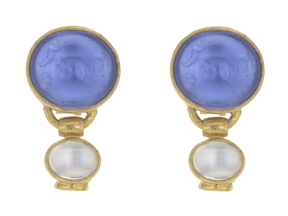 Elizabeth Locke Cerulean Venetian Gl Intaglio Cab Goat Lion And Putto Earrings With