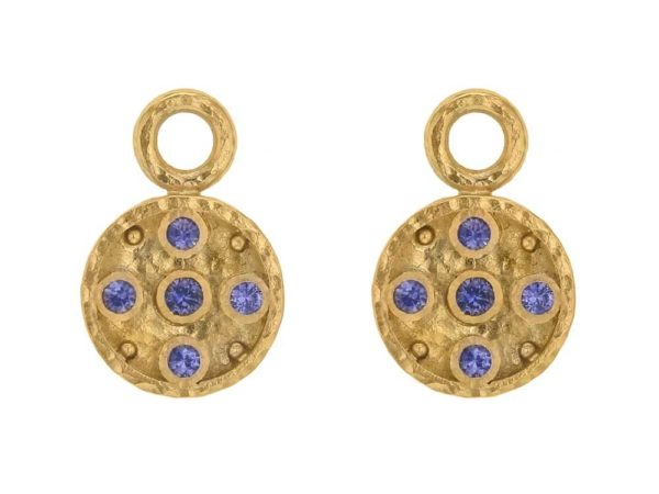 Elizabeth Locke Gold Disk Earring Charms With Faceted Blue Sapphires thumbnail