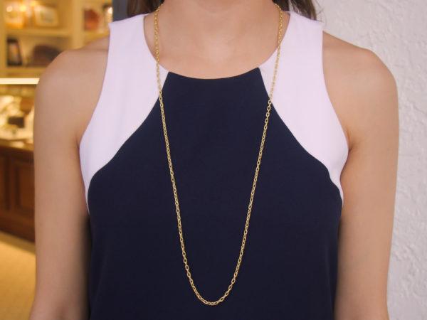 """Elizabeth Locke 35"""" Hammered Oval Link Necklace"""