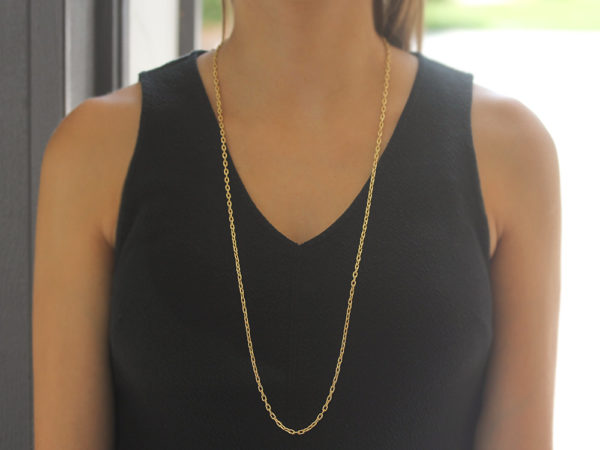 """Elizabeth Locke 35"""" Hammered Handmade Oval Link Necklace"""