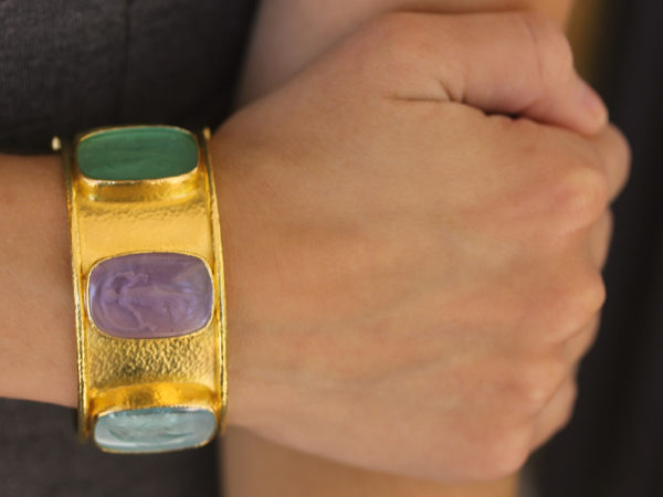 Elizabeth Locke Venetian Glass Intaglio Muse Bangle model shot #2