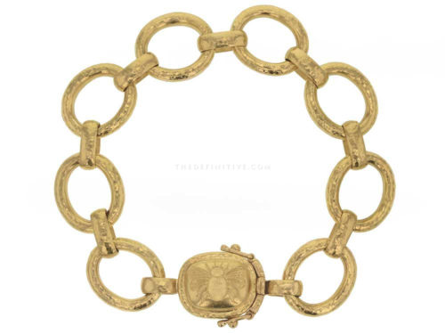 "Elizabeth Locke Hammered Link Bracelet With ""Fat Bee"" Box Clasp"