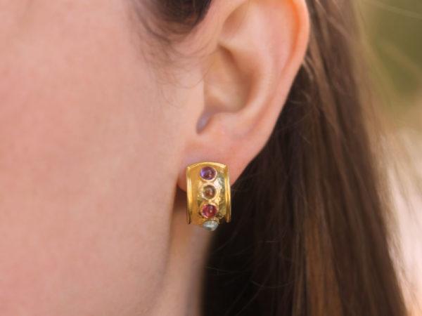 """Elizabeth Locke Pastel Studded Stone """"Tutti Frutti"""" Wide Hoop Earrings"""
