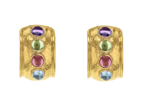 "Elizabeth Locke Pastel Studded Stone ""Tutti Frutti"" Wide Hoop Earrings thumbnail"