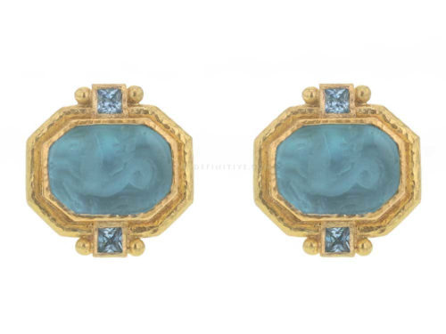 "Elizabeth Locke Teal Venetian Glass Intaglio ""Cherub with Seahorse"" & Faceted Square Blue Zircon Earrings"