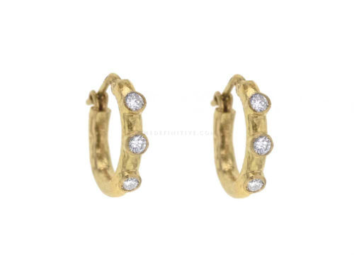 Elizabeth Locke Big Baby Hammered Hoops With Diamonds