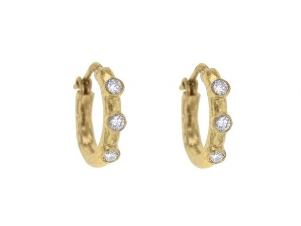 Elizabeth Locke Big Baby Hammered Hoops With Diamonds thumbnail