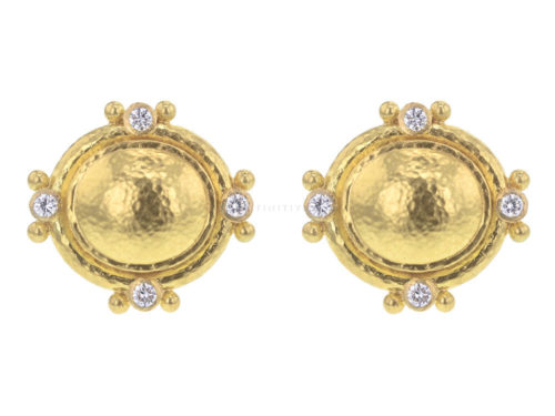 Elizabeth Locke Oval Studded Earrings