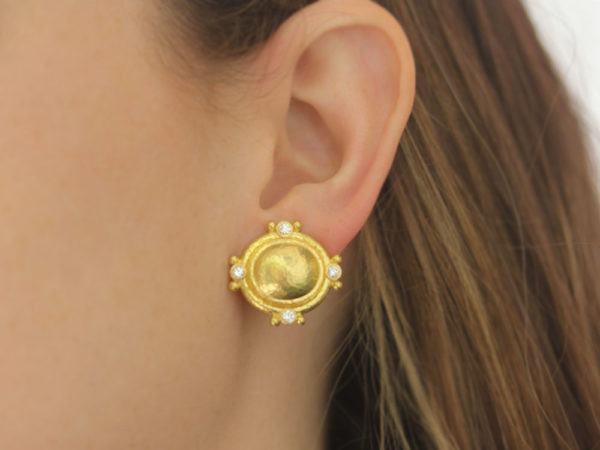 Elizabeth Locke Oval Studded Earrings