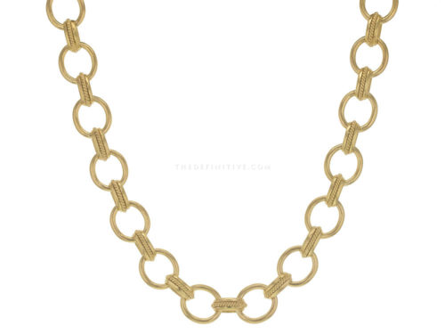 "Elizabeth Locke 17″ ""Lampedusa"" Link Necklace With Braided Connectors"