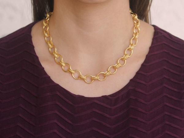 "Elizabeth Locke 17"" ""Lampedusa"" Link Necklace With Braided Connectors"