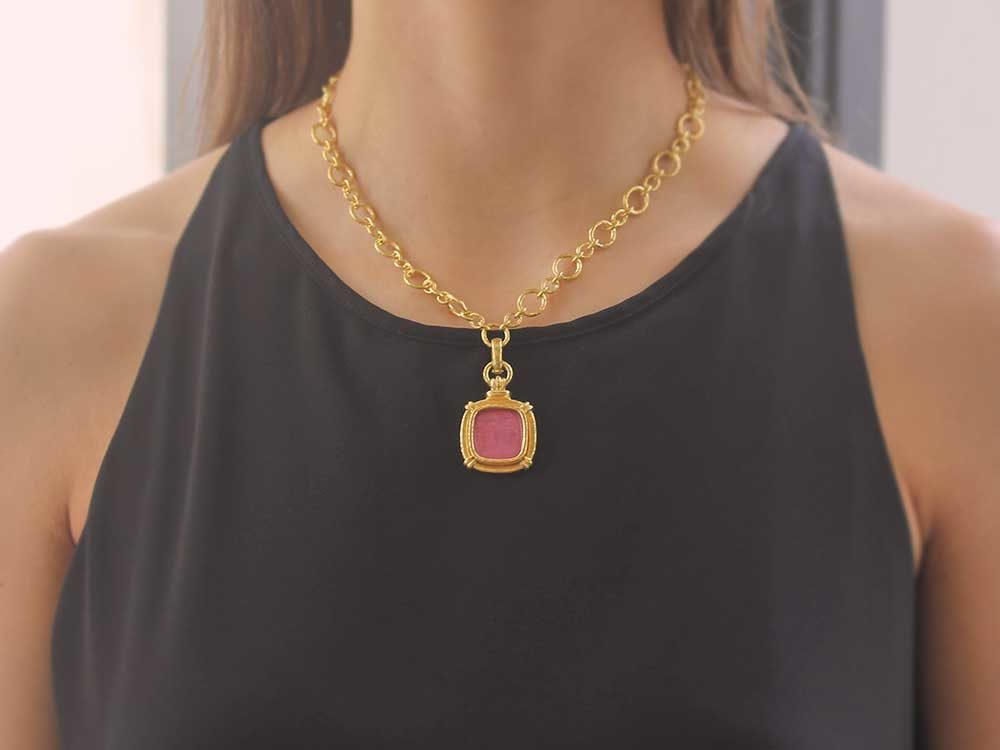 Elizabeth Locke Pink Venetian Glass Earring Pendants 8cvkn7aLc