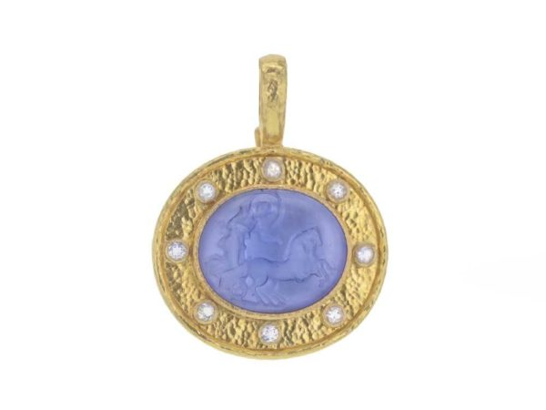 "Elizabeth Locke Cerulean Venetian Glass Intaglio '""Reverse Cabochon Goddess with Chariot"" Pendant With Moonstone thumbnail"