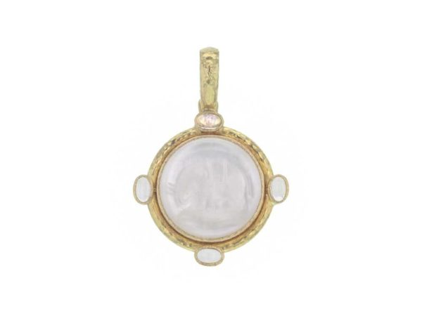 "Elizabeth Locke Crystal Venetian Glass Intaglio ""Elephant"" Seal Pendant With Cabochon Moonstones thumbnail"
